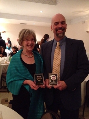 Anne and Matt show off the two awards Children of Time won at the 2013 NM-AZ Book Awards